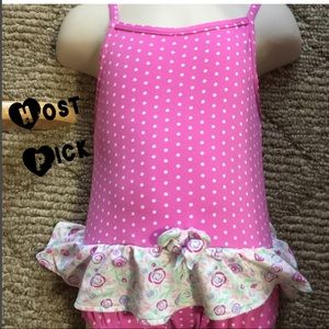 Archimedes girl's pink polka dot bathing suit new